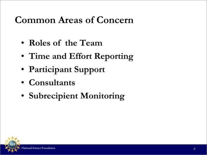 Common Areas of Concern