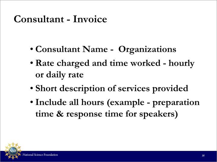 Consultant - Invoice