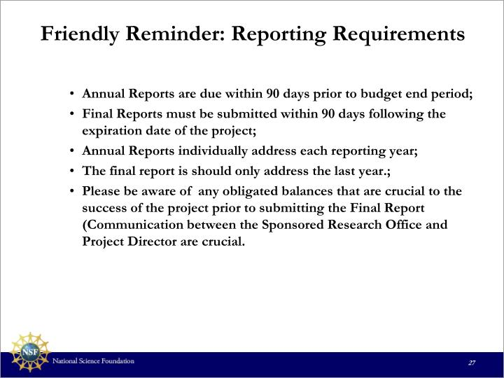 Friendly Reminder: Reporting Requirements