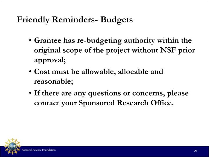 Friendly Reminders- Budgets