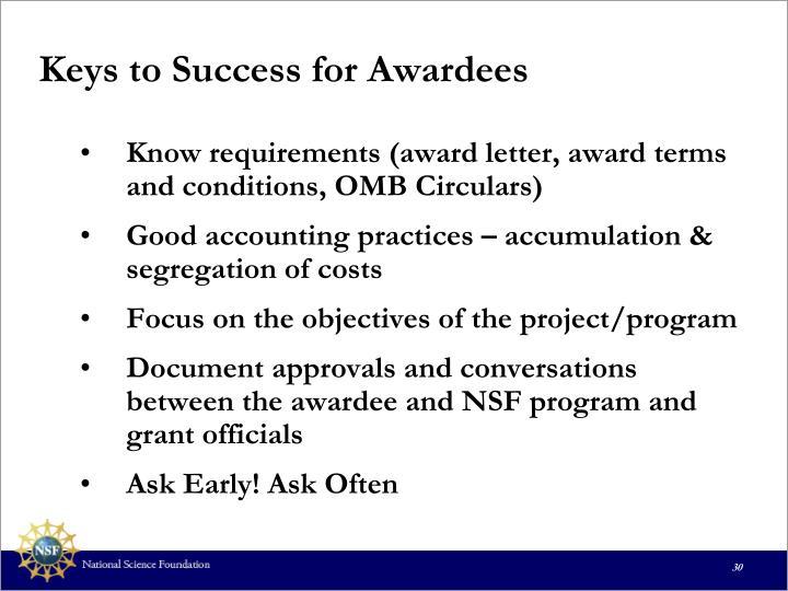 Keys to Success for Awardees
