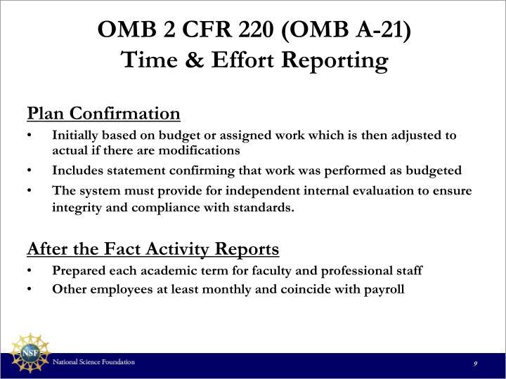 OMB 2 CFR 220 (OMB A-21)