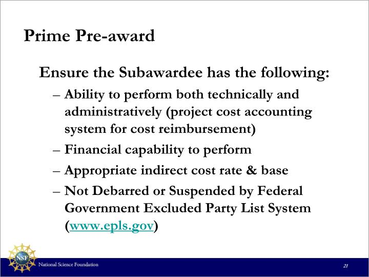 Prime Pre-award
