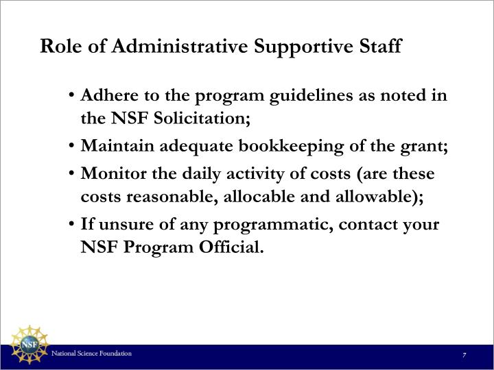Role of Administrative Supportive Staff