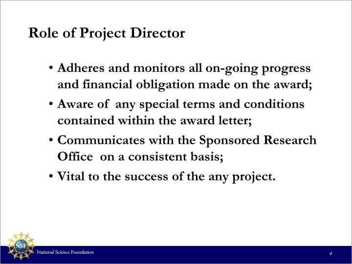 Role of Project Director