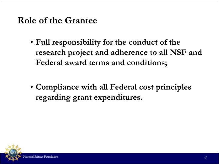 Role of the Grantee