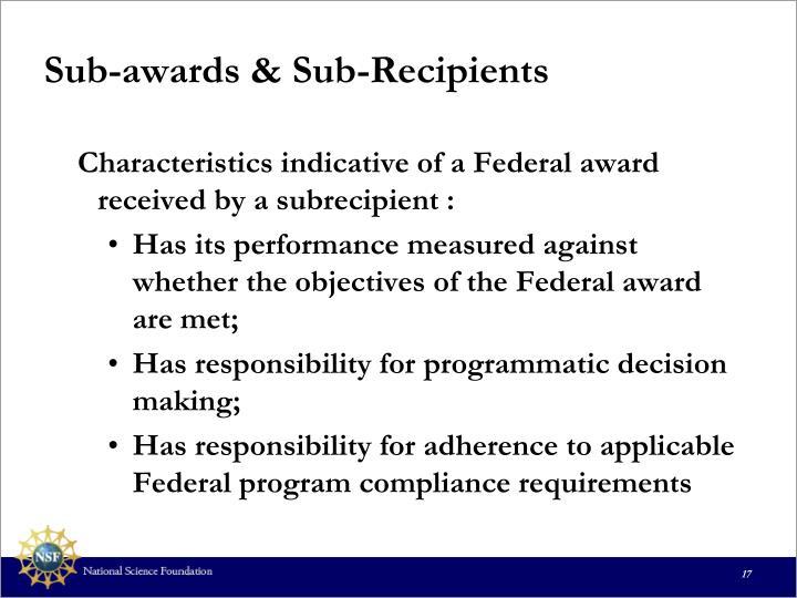 Sub-awards & Sub-Recipients