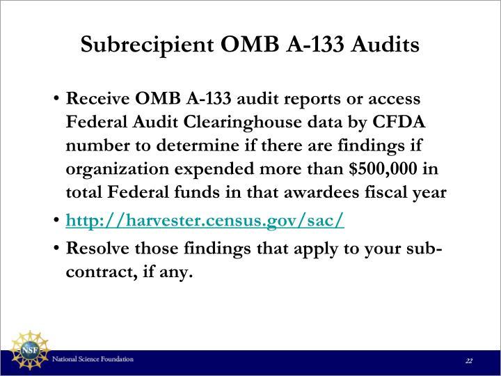 Subrecipient OMB A-133 Audits