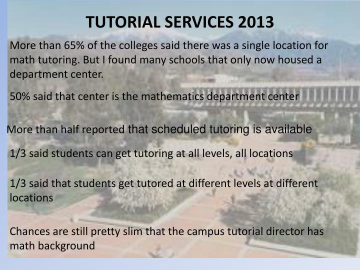 TUTORIAL SERVICES 2013