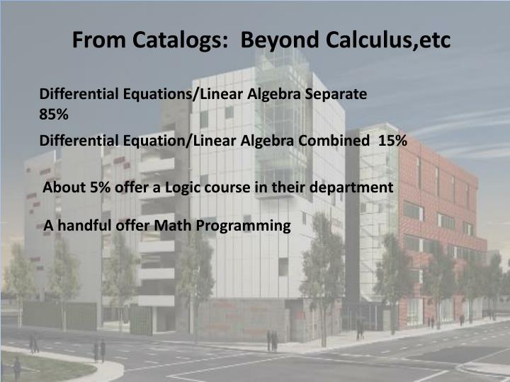 From Catalogs:  Beyond Calculus,etc