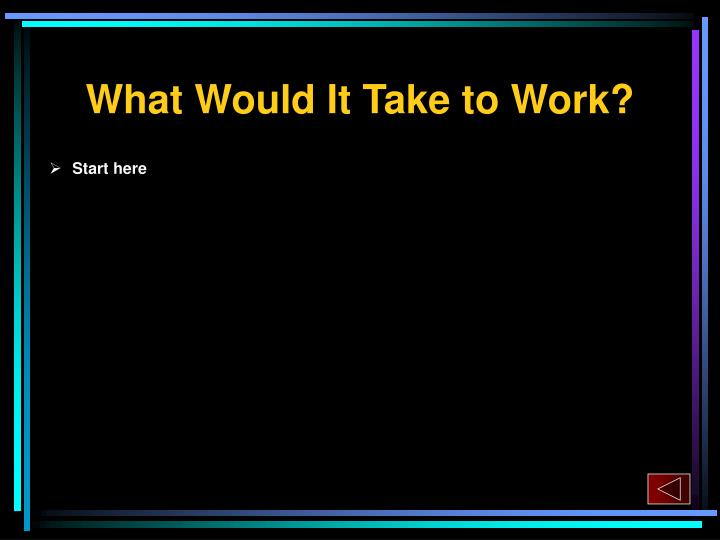 What Would It Take to Work?