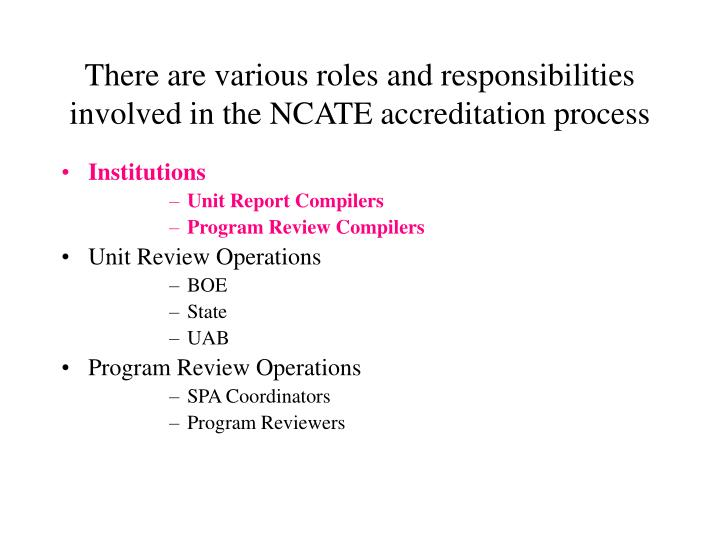 There are various roles and responsibilities involved in the NCATE accreditation process