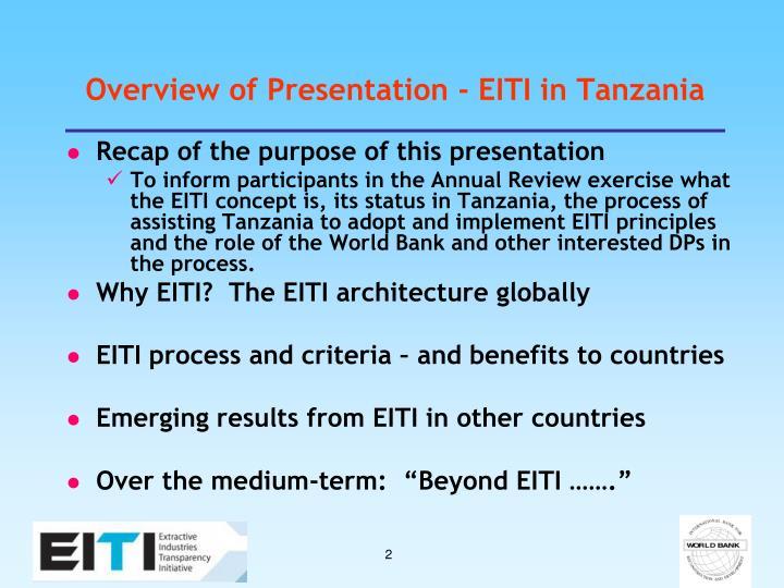 Overview of Presentation - EITI in Tanzania