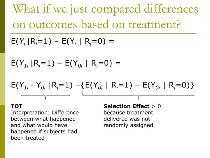 What if we just compared differences on outcomes based on treatment?