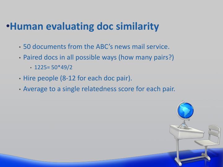 Human evaluating doc similarity