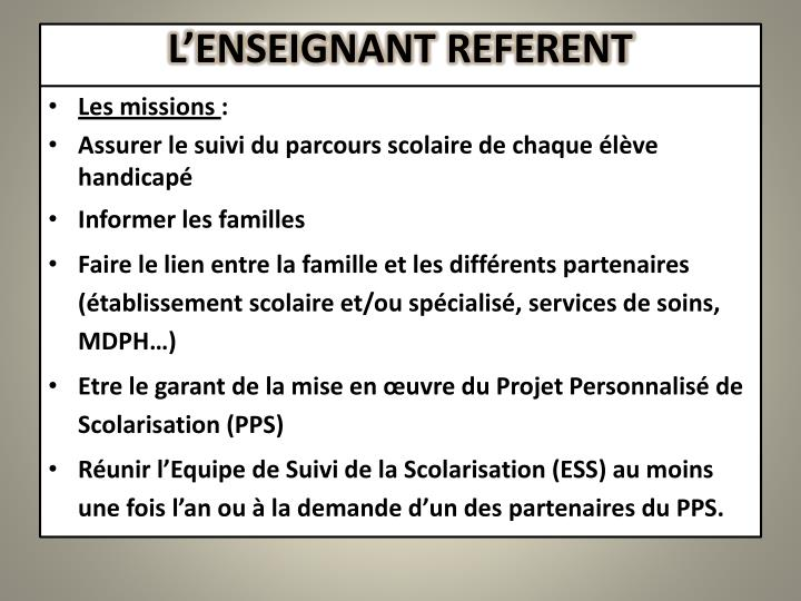 L'ENSEIGNANT REFERENT
