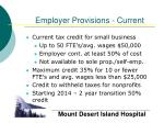 employer provisions current