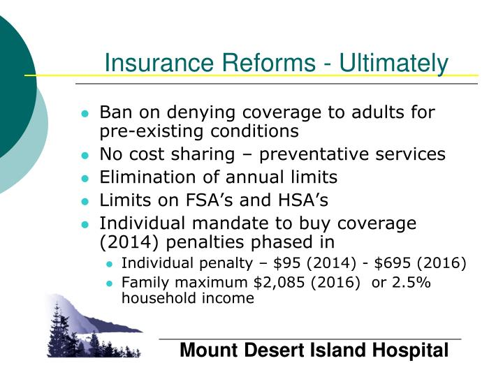 Insurance Reforms - Ultimately
