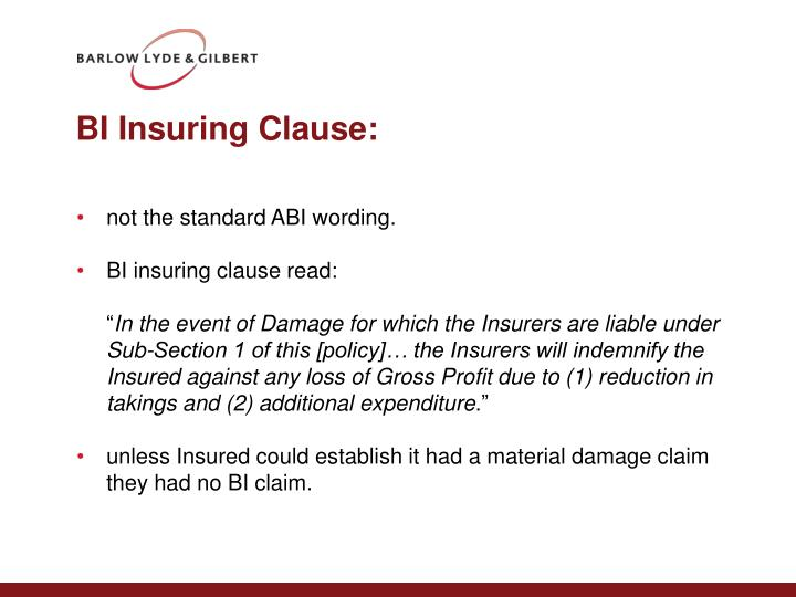 BI Insuring Clause: