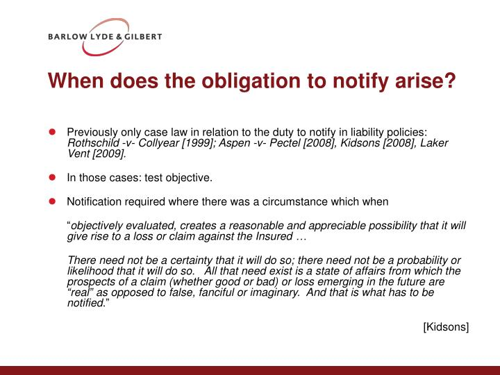 When does the obligation to notify arise?