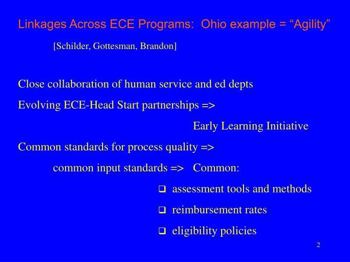 "Linkages Across ECE Programs:  Ohio example = ""Agility"""
