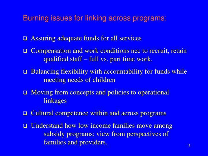 Burning issues for linking across programs: