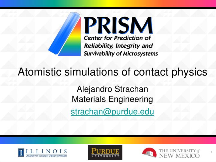 Atomistic simulations of contact physics