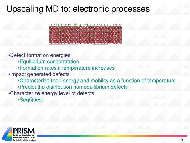 Upscaling MD to: electronic processes