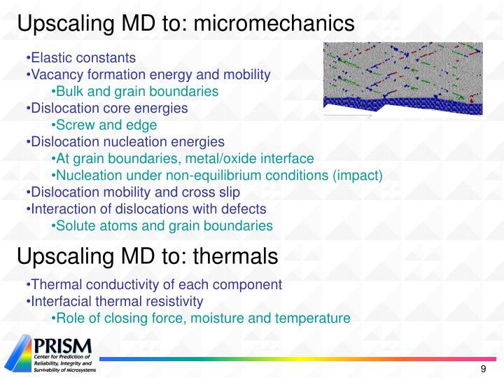 Upscaling MD to: micromechanics