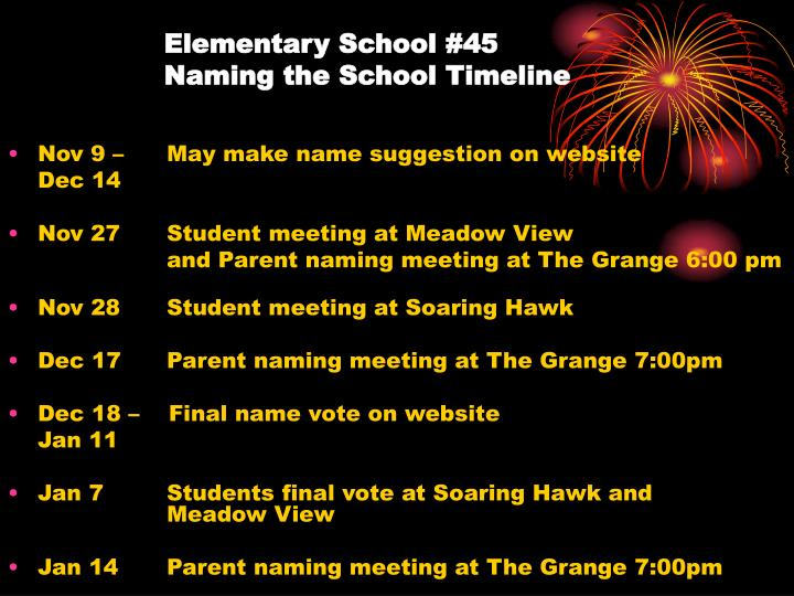 Elementary school 45 naming the school timeline