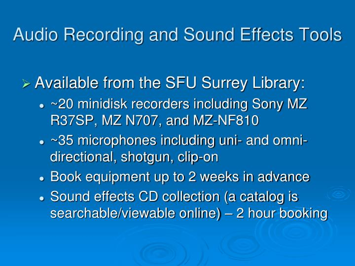 Audio Recording and Sound Effects Tools