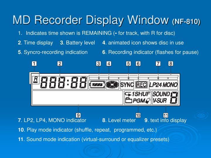 MD Recorder Display Window