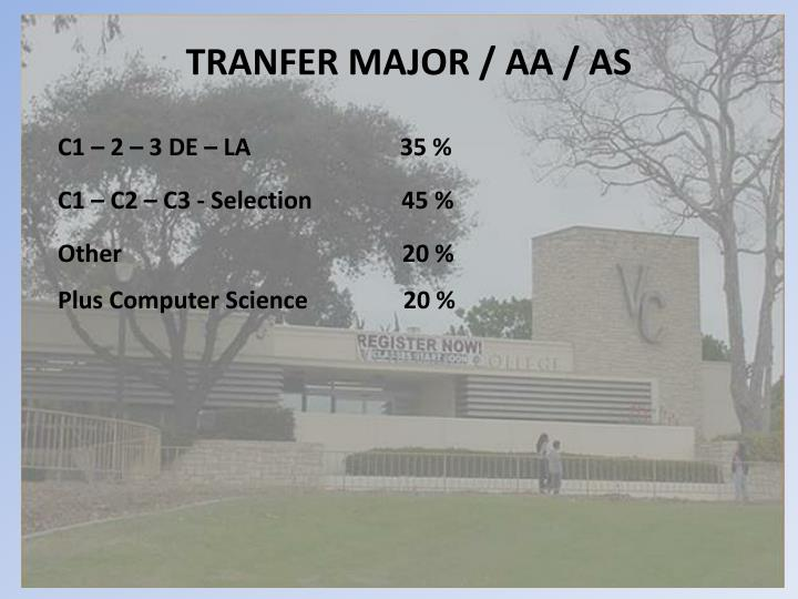 TRANFER MAJOR / AA / AS