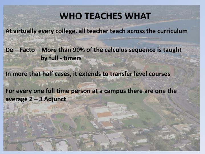WHO TEACHES WHAT