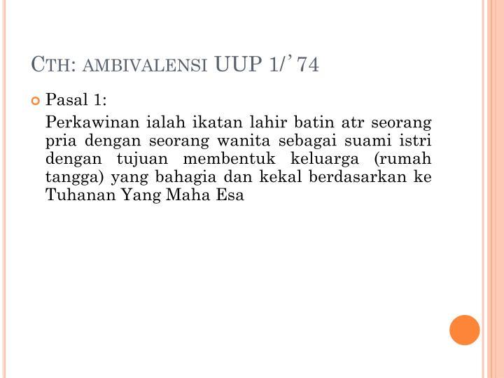 Cth: ambivalensi UUP 1/
