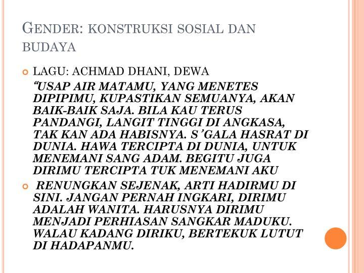 Gender: konstruksi sosial dan budaya