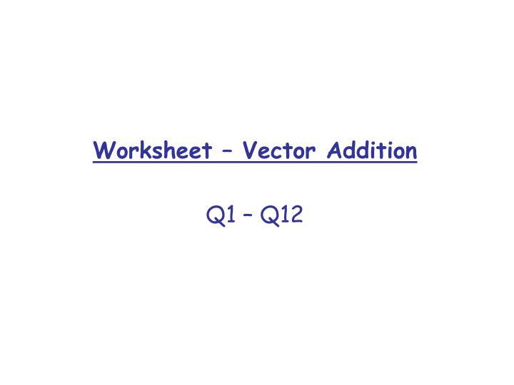 Worksheet – Vector Addition