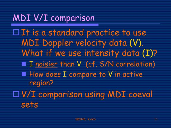 MDI V/I comparison