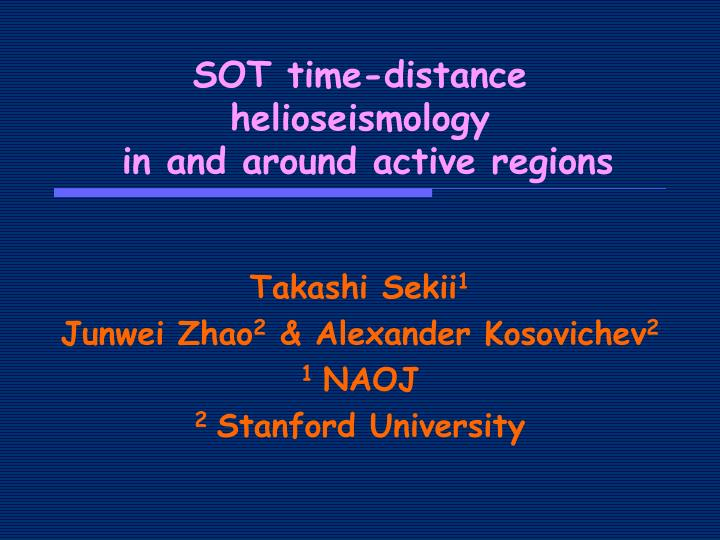 SOT time-distance helioseismology