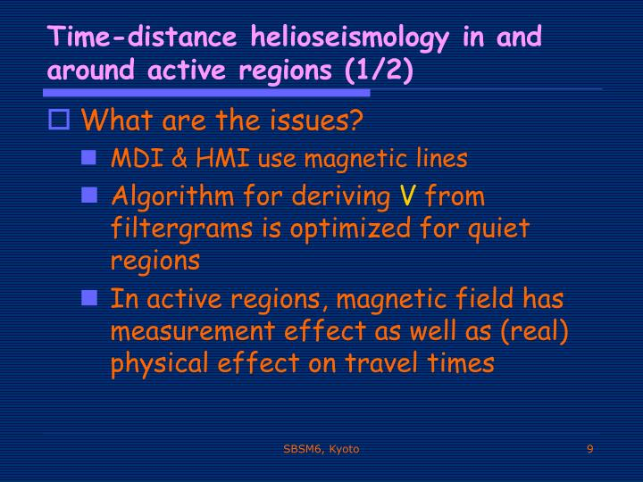 Time-distance helioseismology in and around active regions (1/2)