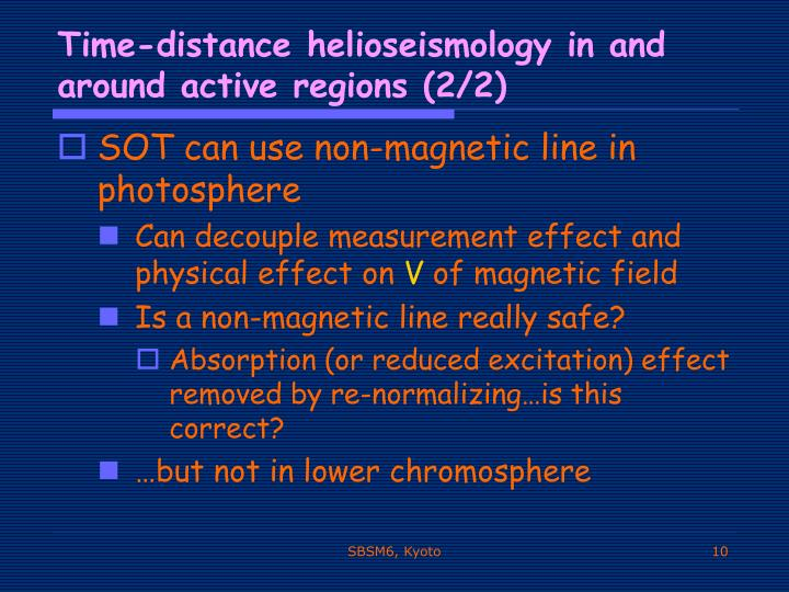 Time-distance helioseismology in and around active regions (2/2)