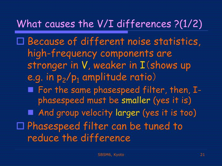 What causes the V/I differences ?(1/2)