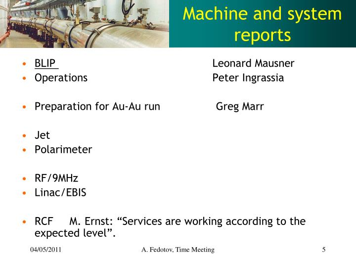 Machine and system reports