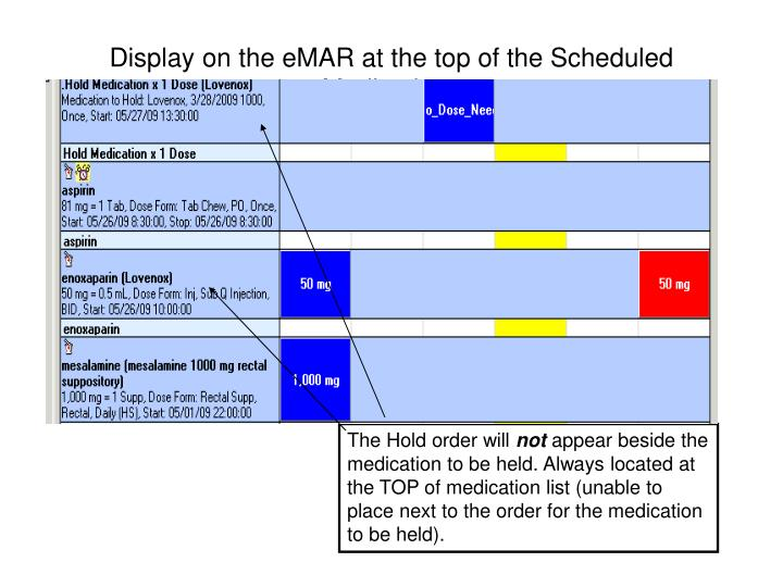 Display on the eMAR at the top of the Scheduled Medications