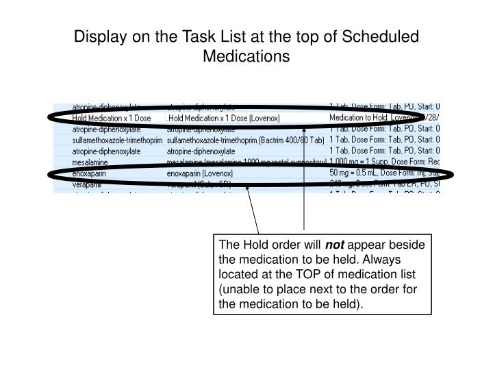 Display on the Task List at the top of Scheduled Medications