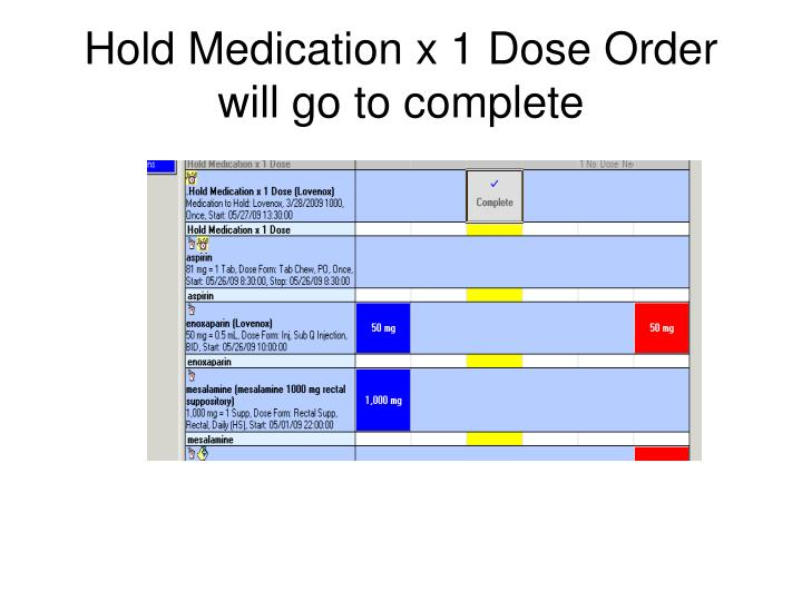 Hold Medication x 1 Dose Order will go to complete