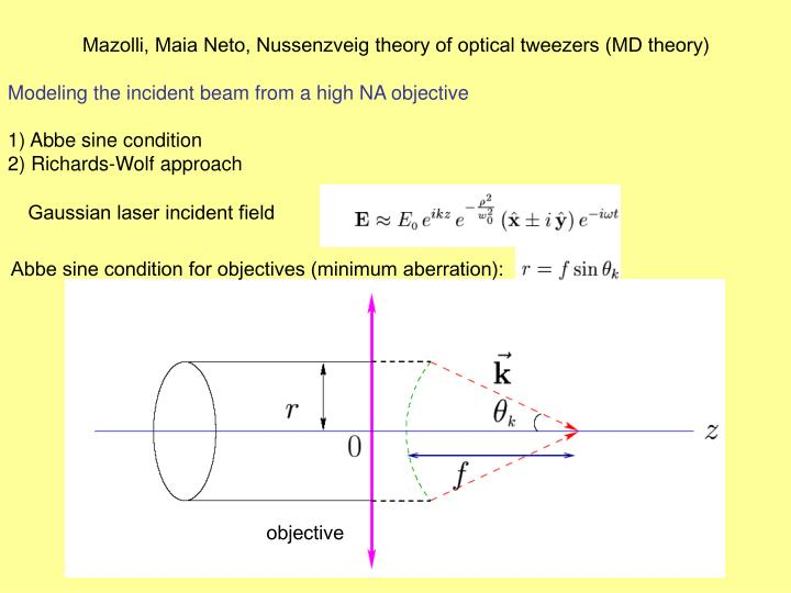 Mazolli, Maia Neto, Nussenzveig theory of optical tweezers (MD theory)