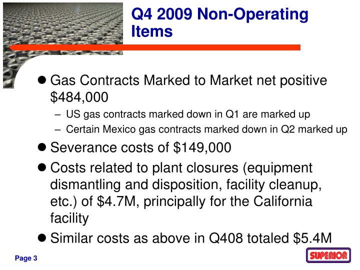 Gas Contracts Marked to Market net positive $484,000