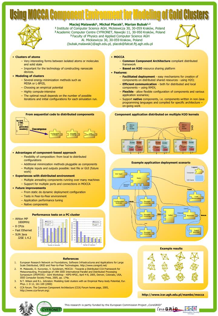 Using MOCCA Component Environment for Modeling of Gold Clusters