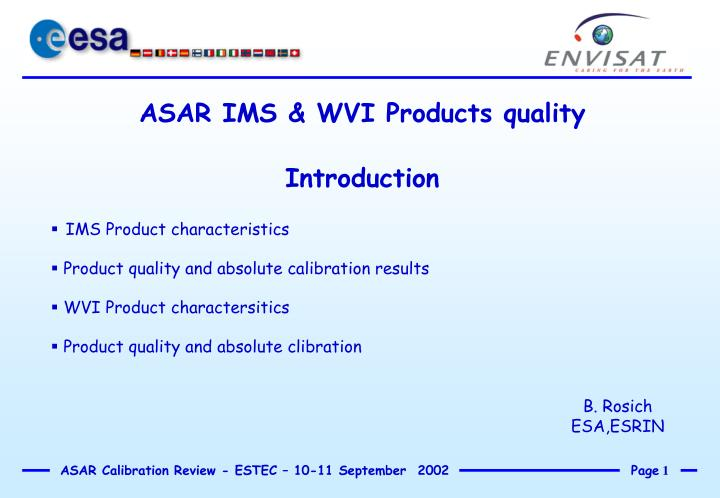 ASAR IMS & WVI Products quality